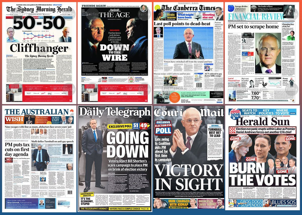 For good measure on the last day before #ausvotes here are the main newspaper front pages together. #election2016 https://t.co/GFc8NXi2gi