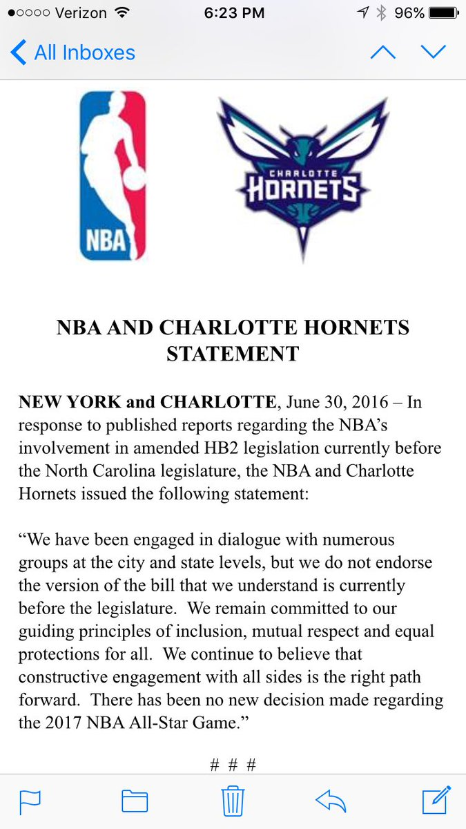 The NBA isn't impressed w/ efforts to mitigate #hb2. #ncga #wral https://t.co/cjqH9l9juH