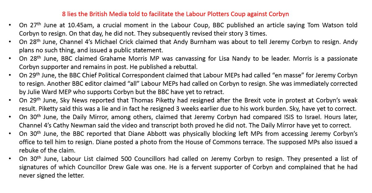 Exposed: 8 times the British Media have told lies in the last 4 days to aid the Labour Plotters' Coup against Corbyn https://t.co/8H68oJvZip