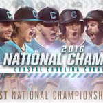 COASTAL CAROLINA CHANTICLEERS  2016 NATIONAL CHAMPIONS!! https://t.co/qVjk68Rili
