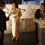 CEO Hermes #Airports Mrs. Kalogyrou awards @MiddleEastAir for operating to #Cyprus since 1 January 1946. #Cyprus https://t.co/w7tRiaQg8v