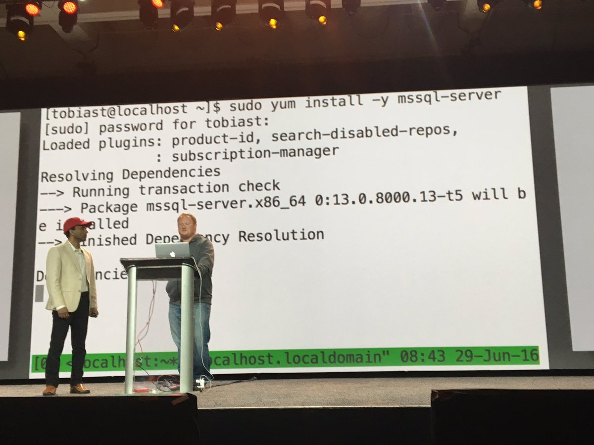 Installing @SQLServer on #RHEL live at #RHSummit https://t.co/vGfxOXcWq5