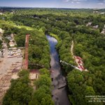 An aerial view of todays #NeponsetGreenway bridge lift! #Railtrail to open in October. #MiltonMA #Mattapan #Boston https://t.co/Iu9oXpU8jF