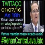 Twitaço às 18 horas 01/07/16! Renan (@renancalheiros) quer dar um golpe na operação Lava-jato! #RenanContraLavaJato https://t.co/pfE5V0WiPo