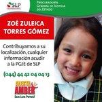San Luis Potosi No olvides sigue la #AlertaAmber por Zoe Zuleica Torres Gomez, ayuda a difundir y comparte!!! https://t.co/SzARxfD9at