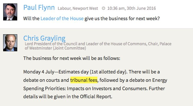 House of Commons to debate court and tribunal fees on Monday (NB: all types of fees, not focused on #ukemplaw) https://t.co/289mODVpXd