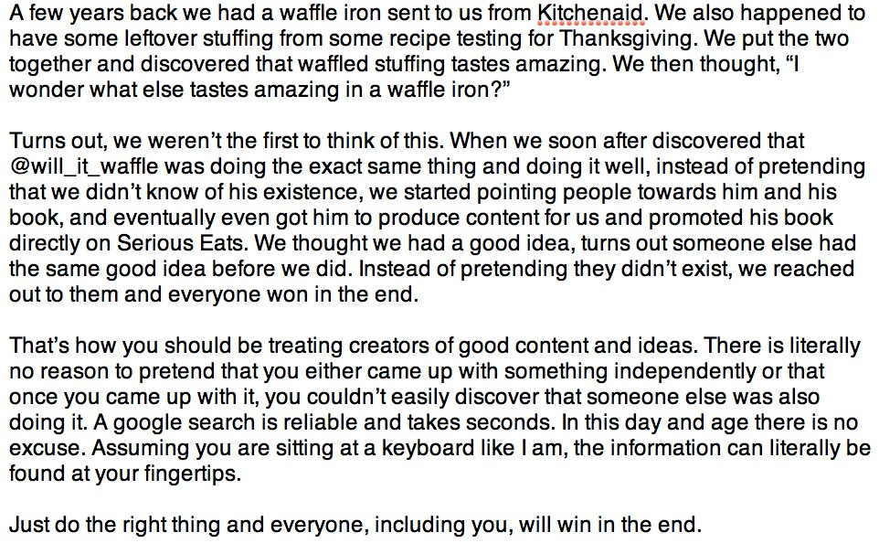 Here's what we did when we found @will_it_waffle was very similar to our column. @BuzzFeed @tasty could do the same. https://t.co/3Nqs9g87Xj