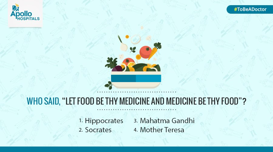 Here's the 1st question for #ToBeADoctor #contest: Do you know who gave this #healthy advice.Tweet us your response. https://t.co/Ma6zbjTZZS