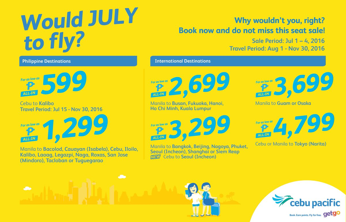 Would JULY to fly? We know you want to with the new CEBSeatSale! Book now!