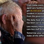 From today, every aged care resident is $6,550 pa less well-off, food... Tomorrow: #PutLNPLast!!! #auspol #ausvotes https://t.co/eMd92mF95P