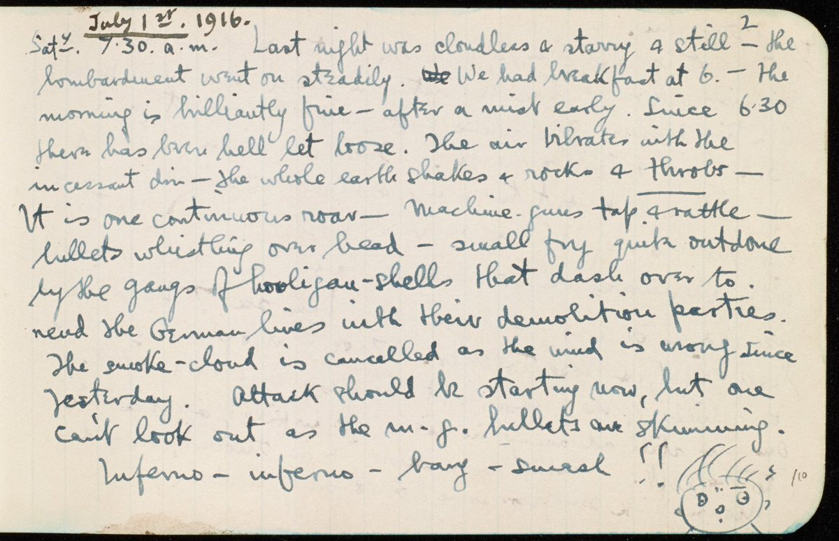 'Since 6:30 there has been hell let loose...the whole earth shakes+rocks+throbs' https://t.co/CUh8Fw2PWK #Somme100 https://t.co/UqzRqUybb4