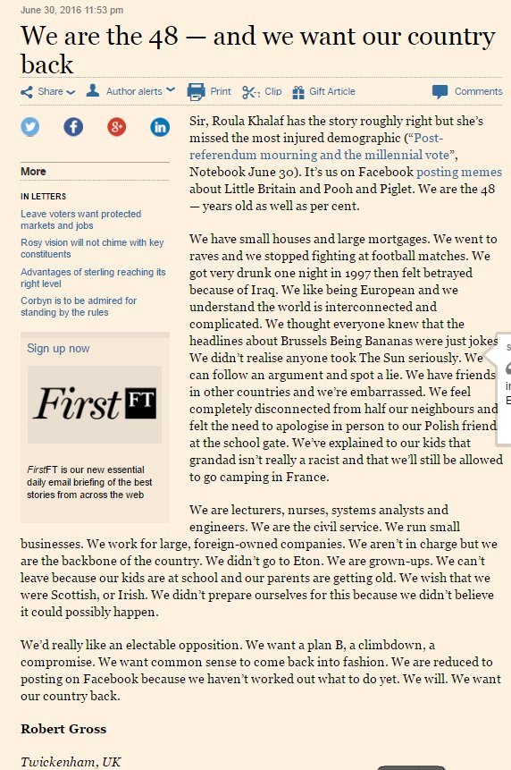 "It has been a strong week for letters to the @FT - here is another ""We are the 48 - and we want out country back"" https://t.co/r77mjJSPWY"