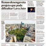 Capa de hoje: Renan desengaveta projeto que pode dificultar Lava Jato https://t.co/EC9nxlWEAB https://t.co/9cuXICdP4X