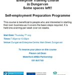 Self-employment Preparation Programme with @wapent1 in @dungarvanec - just a few places left #waterford #dungravan https://t.co/e7SUlmGhnt