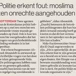 Moslima onterecht aangehouden kennis v wet- & regelgeving bleek onvold erkent @Politie_Rdam na vragen NIDA @RDStad https://t.co/mZkGmFDPyo