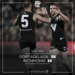 1/2 Time ⚡ by 23 #AFLPowerTigers #weareportadelaide https://t.co/duJWnkCsiJ