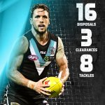 Skipper @travisboak10 standing tall in the first half #AFLPowerTigers https://t.co/X75o0z3f6G