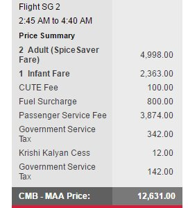 .@flyspicejet Y U NO have 1/2 tkts, #airways? And why is my infant who'll be on my lap being charged a CUTE fee too? https://t.co/eRjKBlfOLf