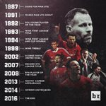 Ryan Giggs at Manchester United 29 years of history 963 club appearances 26 major trophies The end of an era #MUFC https://t.co/sKUx8rqYaJ