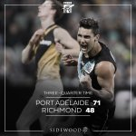 3/4 TIME ⚡ by 23 #weareportadelaide #AFLPowerTigers https://t.co/dfk6eIQ5Vs