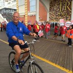 A.C. Mayor Don Guardian rides by strikers at the Trump Taj Mahal but does not stop. https://t.co/BxrbRLystb