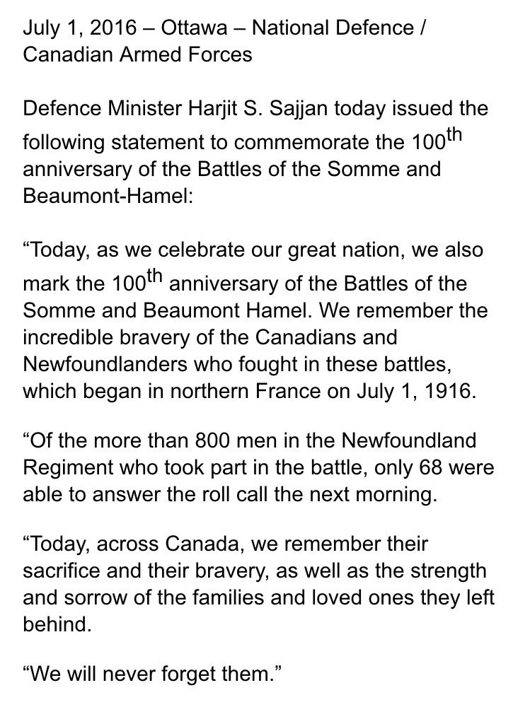 Statement from Defence Minister @HarjitSajjan on the 100th anniversary of #BeaumontHamel https://t.co/4zDeRDtGoV