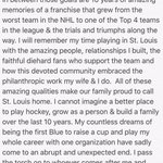 A great mixture of emotions and thankful for an amazing decade of my life! Farewell @StLouisBlues  #BleedBlue https://t.co/AyYSSOqj06