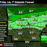 Cooler across the north with rain chances while southern Arkansas will warm into the 90s and be mostly dry. #arwx https://t.co/HeuIhXDauP