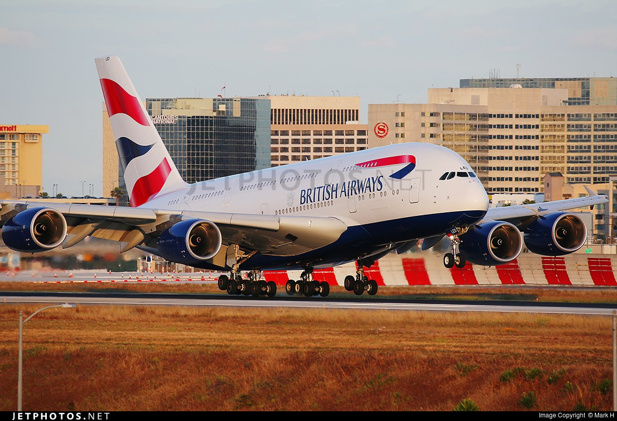 RT @JetPhotosNet: A @British_Airways A380 about to touch down at @flyLAXairport. by Mark H