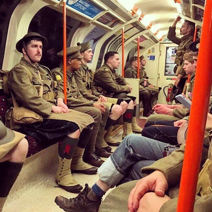 Soldiers on the Central Line #wearehere #BattleOfTheSomme https://t.co/4qJ65gGV0q