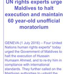UN experts call on Maldives to halt execution n uphold moratorium @maumoonagayoom https://t.co/5hoVrV4Dic