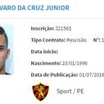 Publicada no BID a rescisão de contrato do lateral-direito Auro com o @sportrecife.Atleta foi registrado há 3 dias: https://t.co/6FQAQ7UCo3