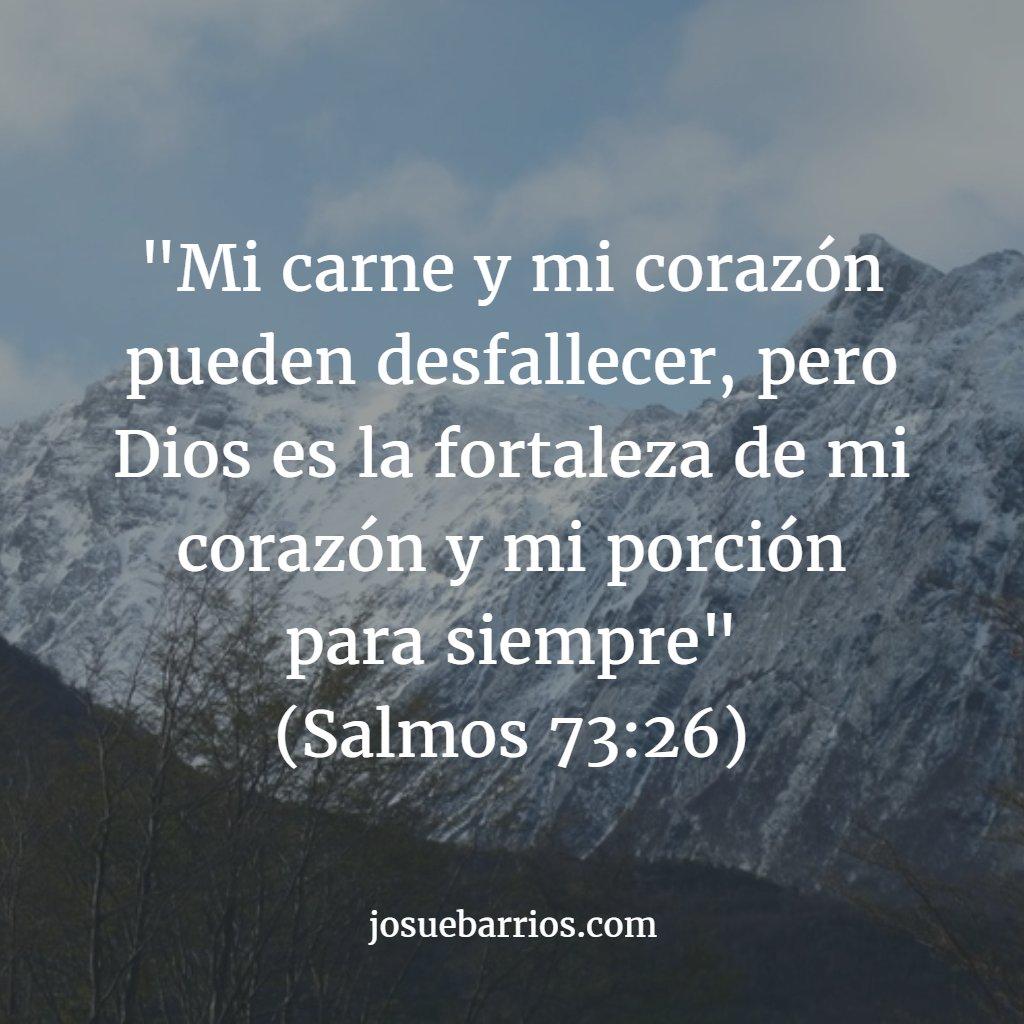 """""""Mi carne y mi corazón pueden desfallecer, pero Dios es la fortaleza de mi corazón..."""" (Salmos 73:26) https://t.co/cv0blD8CvB"""