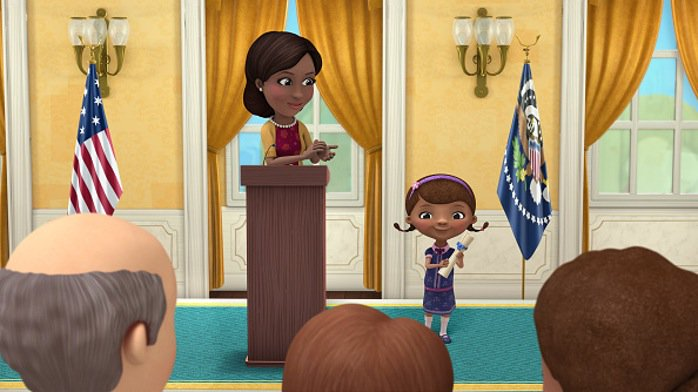 Is #DocMcStuffins an important show? Well, here she is hanging w/ @FLOTUS! @DisneyJunior #RenewDocMcStuffins! https://t.co/5PBhSbaV6j