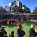The queue for at Nth Melb Primary School... Ouch #ausvotes #melbourne https://t.co/qepILkVBpk