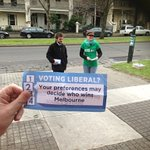 Hipster in a tie handing out dodgy Liberal-Green flyers at Uni High booth, Parkville #ausvotes #Melbourne https://t.co/Har9cepO9L