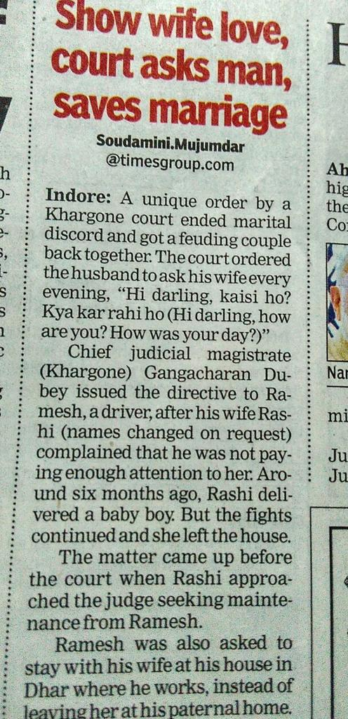 Court orders man to ask his wife every evening 'Hi darling,  kaisi ho? Kya kar rahi ho?'