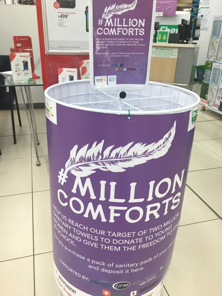 Help us collect 2 million sanitary towels to donate to young women.Look out for these bins in-store #MillionComforts https://t.co/Pi8qklrf7D