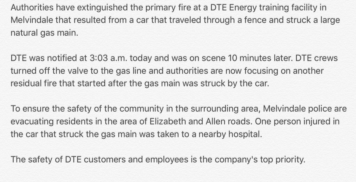 DTE Energy was notified of the fire in Melvindale at 3:03 this morning. Here is more information: https://t.co/VqUx5jJCeL