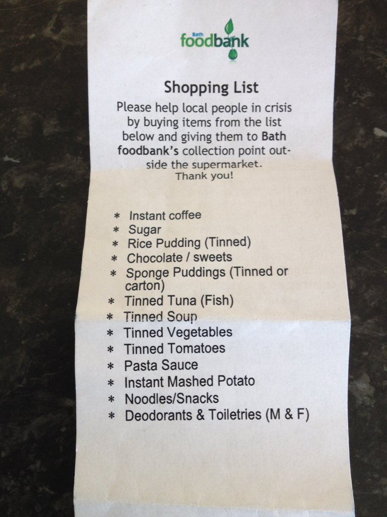 Bath Food Bank are short on certain supplies. Here's a list if you're shopping today in @WeLoveBath. Please RT https://t.co/bZVyilsxd2