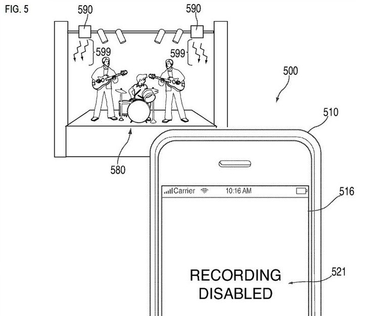 Apple files patent that could be used to block cameras at live events: https://t.co/1V2MZ0yXwN https://t.co/MdPdBhxFxw