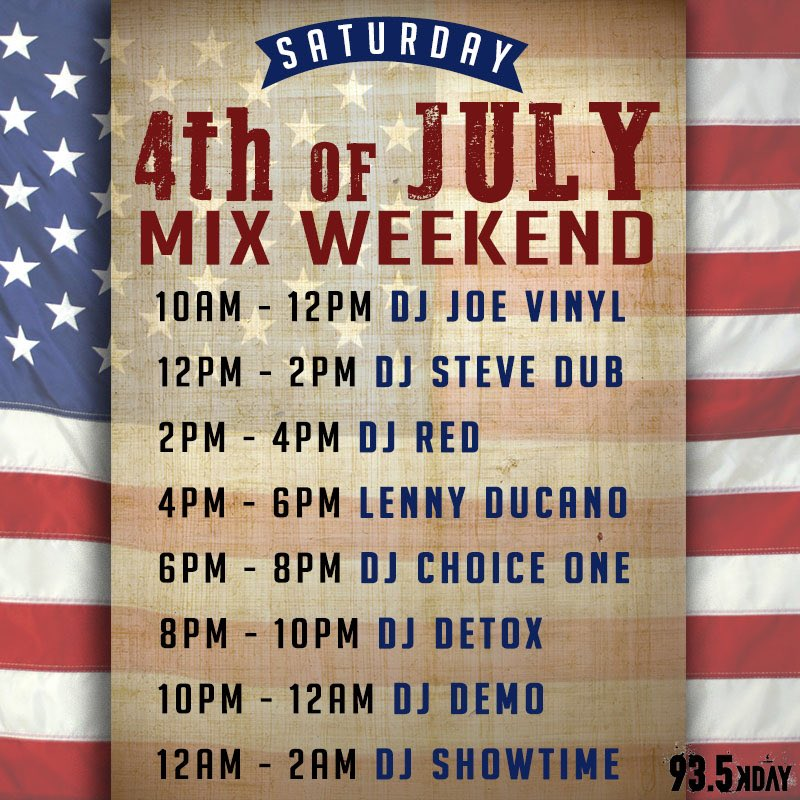 #kdaymixers putting in work all weekend long through 4th of July! Lock your radios to @935KDAY or DL the Kday app