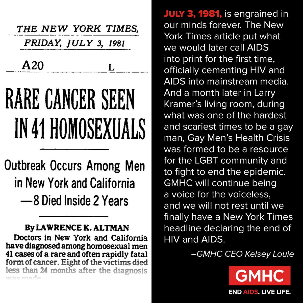 Exactly 35 years today,@nytimes cemented #HIV & #AIDS into mainstream media. Please RT. We must End AIDS & Live Life https://t.co/ZzaLhDm7i8