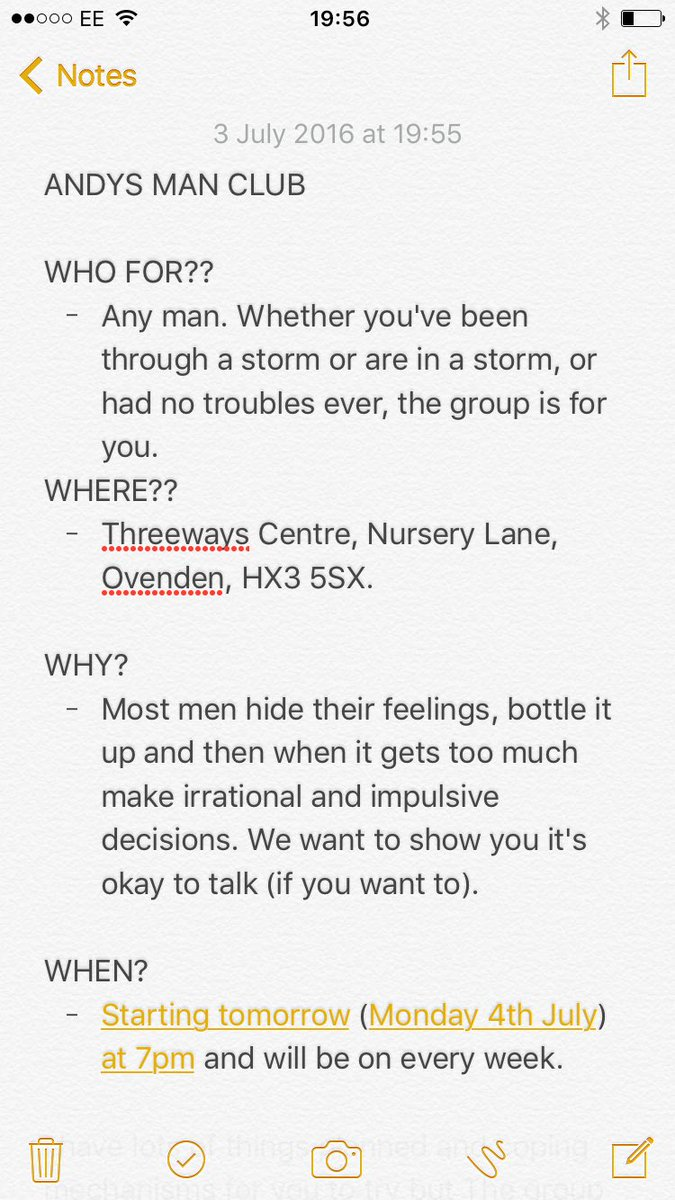 Tomorrow is the first #ANDYSMANCLUB. Please feel to read and if you feel it could benefit you or anyone else do come https://t.co/SLVlX3yD3A