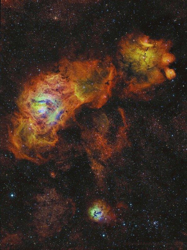 A Nebulosa da Lagoa, a Trífida e a NGC 6559, os girassóis de Sagittarius. BY NASA APP. https://t.co/9rtFxwJhbo