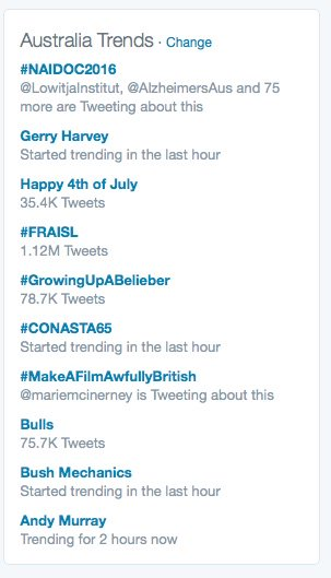 Great to see #NAIDOC2016 is trending NUMBER ONE nationally! @jpjanke @AnitaHeiss @CATSINaM @IAHA_National https://t.co/ZatUst2ppc