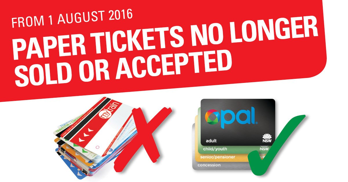 From 1 August this year, paper tickets will no longer be sold or accepted. Get your #opalcard today https://t.co/DEhFIuDT4i