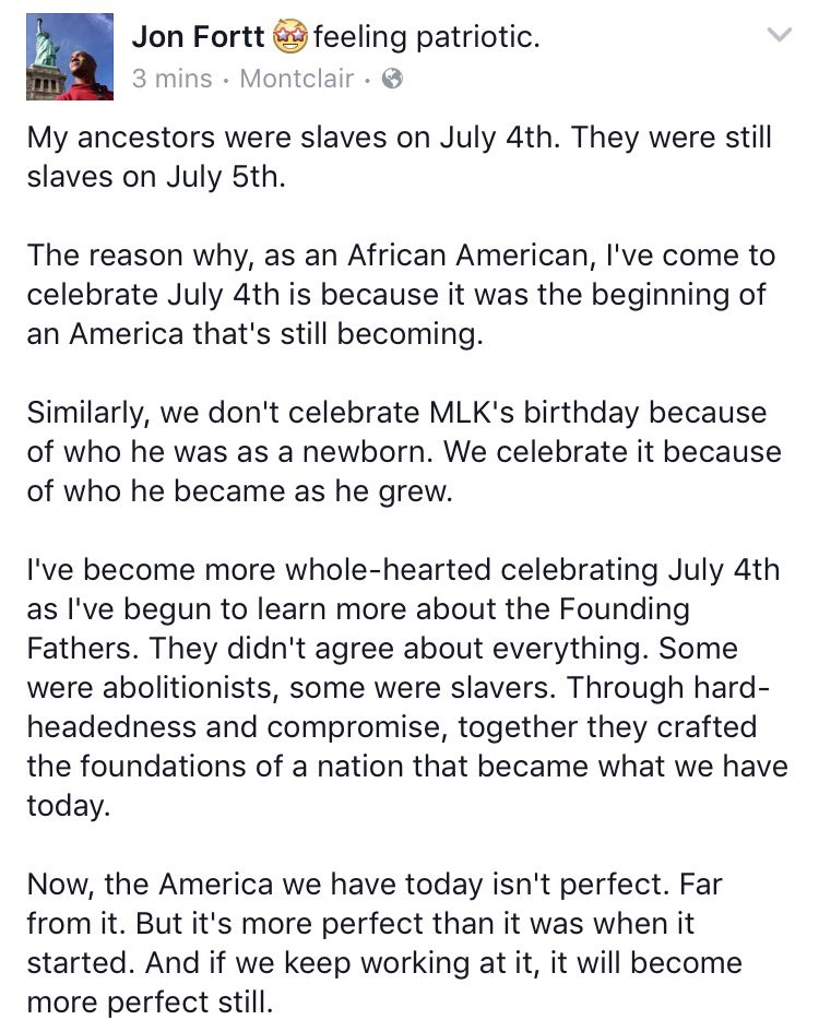 Thoughts from a descendant of slaves on the Fourth of July: https://t.co/LdXwjGdQkX