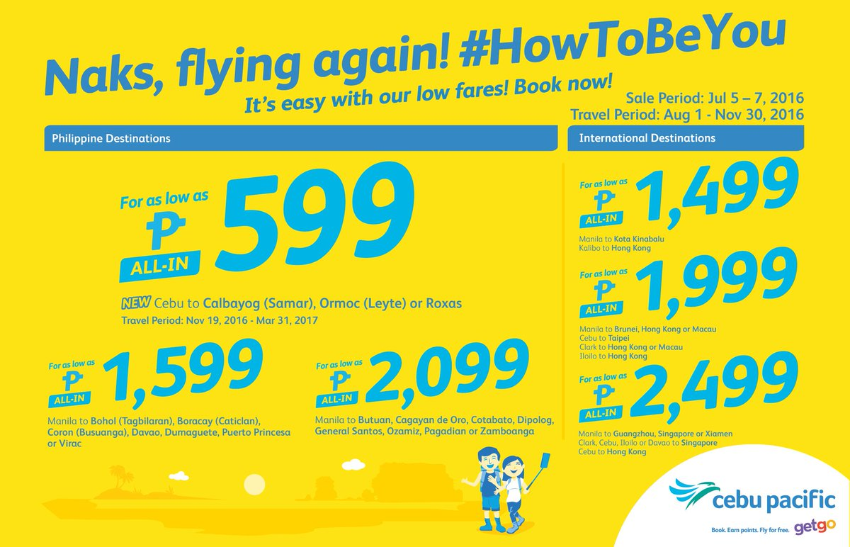 Naks naman! Show 'em it's easy to be like you with the new CEBSeatSale! Book now til Jul 7!