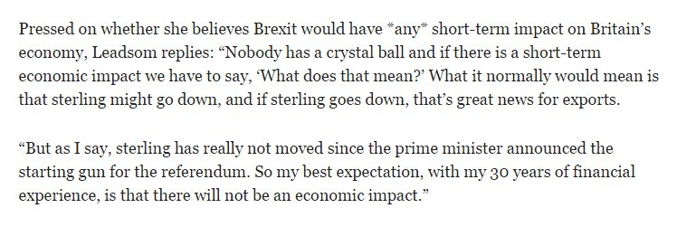 Andrea Leadsom just before the Brexit vote https://t.co/kB4yng1mQt https://t.co/PXFai2aID8